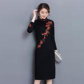 梅花中國風洋裝刺繡改良式旗袍 洋裝連身裙女中長款修身包臀打底裙子 降價兩天