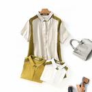 XL上衣 撞色拼接開釦棉麻-月兒的綺麗莊園