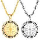 《 QBOX 》FASHION 飾品【C21N1957】精緻個性歐美圓牌環鑽十字架鈦鋼墬子項鍊/掛飾