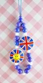 【震撼精品百貨】日本精品百貨-手機吊飾/鎖圈-微笑圖案系列-藍國旗