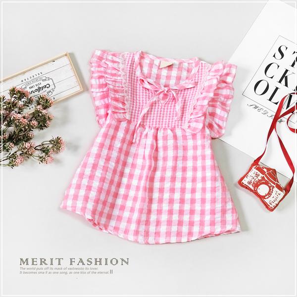 純棉 粉色格紋綁帶花邊無袖上衣 甜美 格子 格紋 夏天 棉麻 女童