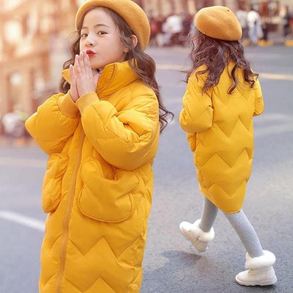 兒童夾克外套加絨棉服 中長款女童外套女孩棉襖 秋冬羽絨服潮流羽絨外套 韓版外套中大童上衣