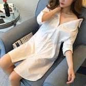 polo衫白色襯衫女長袖中長款韓版新款BF性感襯衣寬松大碼打底睡衣風 嬡孕哺