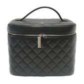 CHANEL 香奈兒 黑色菱格紋羊皮手提化妝包 Vanity Bag Cosmetic Case【BRAND OFF】