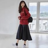 兩件套裙子新款秋冬韓版女潮ins寬鬆酒紅色連帽衛衣 半身裙套裝女 朵拉朵