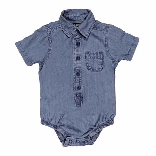 男寶寶短袖包屁衣 紳士西裝連身衣 藍牛仔 | Oshkosh童裝 (嬰幼兒/baby/新生兒)