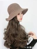 網紅假發帽子帶頭發漁夫帽女秋冬季韓版潮時尚百搭可愛一體帽子發 一米陽光
