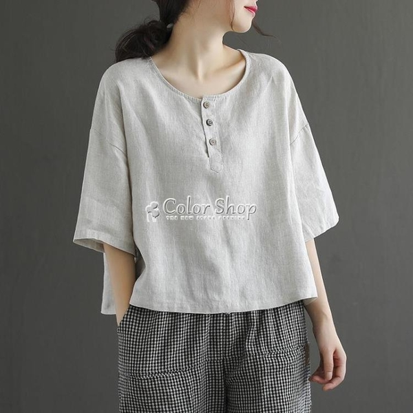 棉麻圓領短袖t恤女士夏季新款紐扣拼接寬鬆大碼休閒體恤上衣 快速出貨