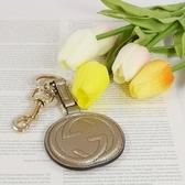 【雪曼國際精品】GUCCI SOHO 系列大LOGO小牛漆皮吊牌鑰匙圈(金色)─全新現貨