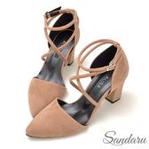 訂製鞋 交叉繞踝絨布尖頭粗跟鞋-艾莉莎ALISA【107B326】棕色下單區