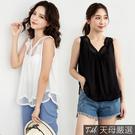 【天母嚴選】簍空蕾絲拼接傘襬無袖棉麻上衣(共二色)