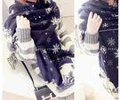 【Sexy cat】秋冬季新款双面圍巾女雪花城堡仿羊絨情侣加厚圍脖披肩兩用