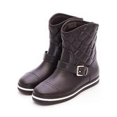 MICHELLE PARK 極致優雅顯瘦飾扣菱格紋短筒防水雨靴-咖啡