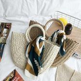 包包編織手提包女編織包女草包手提包草編包度假旅行沙灘包藤編包『快速出貨』