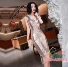 尾牙洋裝 禮服亮片小晚禮服裙女新款宴會氣質年會性感高貴主持人短款連衣裙洋裝
