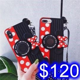 米妮攝影機造型手機殼 蘋果 iPhone 7/8/SE2/XS/XR/XSmax 手機保護套 指環支架 含掛繩