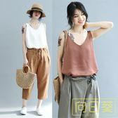 大碼女裝無袖背心上衣女夏外穿韓版文藝寬鬆百搭V領t恤打底衫顯瘦