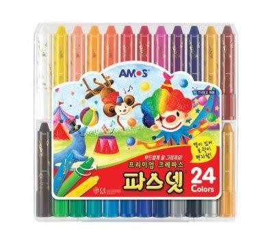 韓國進口韓國原裝AMOS 無毒水溶性蠟筆 蠟筆 24色~現貨
