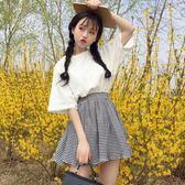 韓版時尚休閒套裝夏裝女裝氣質蕾絲花邊短袖T恤上衣 半身裙兩件套 秘密盒子