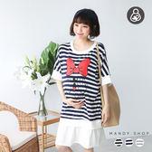 *蔓蒂小舖孕婦裝【M8081】*台灣製.哺乳衣.條紋蝴蝶結拼接假兩件中長洋