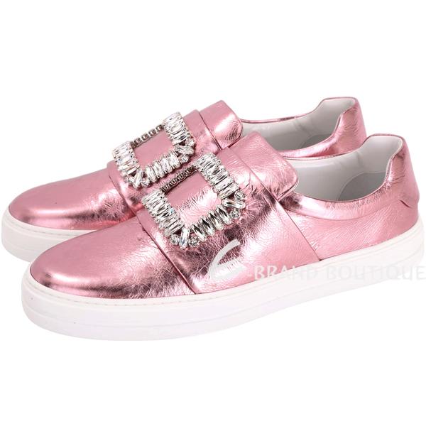 Roger Vivier Sneaky Viv 水晶方框爆裂紋皮革便鞋(金屬粉) 1710555-05