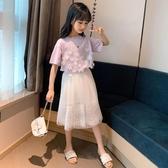 兒童夏裝女童網紅套裝2020新款女孩洋氣潮流半身裙公主兩件套大童 小天使