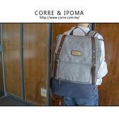 CORRE【CP608】帆布撞色雙皮扣後背包