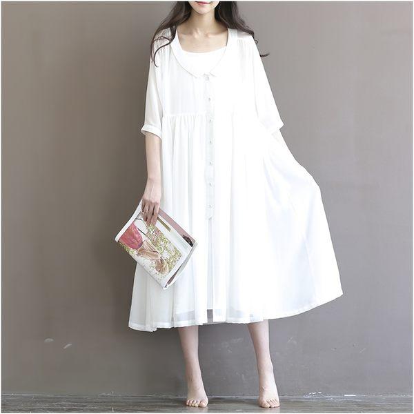 五分袖寬鬆長版雪紡洋裝