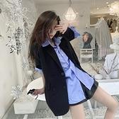 2021年新款寬鬆短袖豎條紋襯衫 韓版西裝外套女夏薄款套裝兩件套 「雙10特惠」