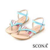SCONA 蘇格南 全真皮 簡約舒適夾腳涼鞋 藍色 22713-2