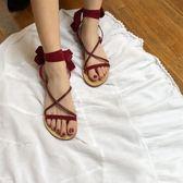 顯白 交叉綁帶涼鞋 露趾羅馬平底鞋女【南風小舖】