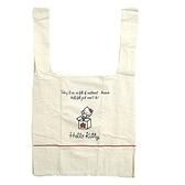 小禮堂 Hello Kitty 折疊帆布環保購物袋 環保袋 側背袋 帆布袋 (米紅 大臉) 4990270-12951