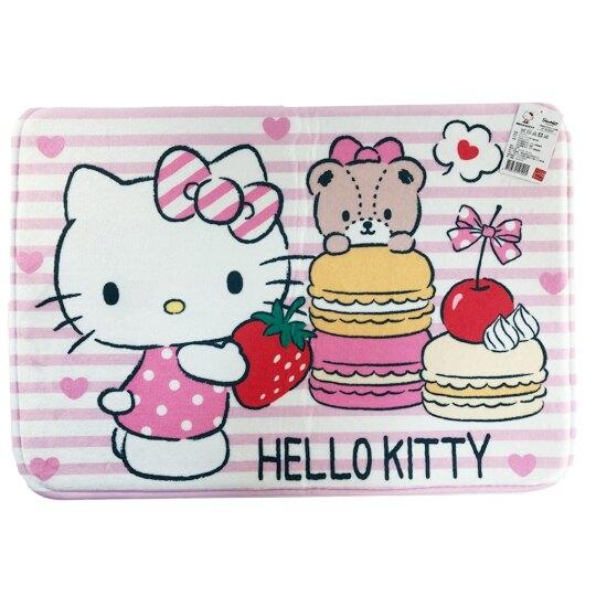 小禮堂 Hello Kitty 方形腳踏墊 吸水踏墊 浴室地墊 止滑海綿 45x65cm (粉 馬卡龍) 4710374-19102