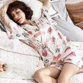 和服短袖睡衣女夏季甜美性感可外穿兩件套裝 嬡孕哺 免運