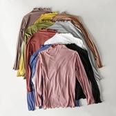 衛生衣 木耳領長袖T恤女春夏半高領內搭莫代爾打底衫修身薄衛生衣純色上衣 小天後