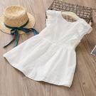 女Baby女童純棉洋裝甜美風白色背心洋裝休閒洋裝小伴娘小花童裝現貨 歐美品質