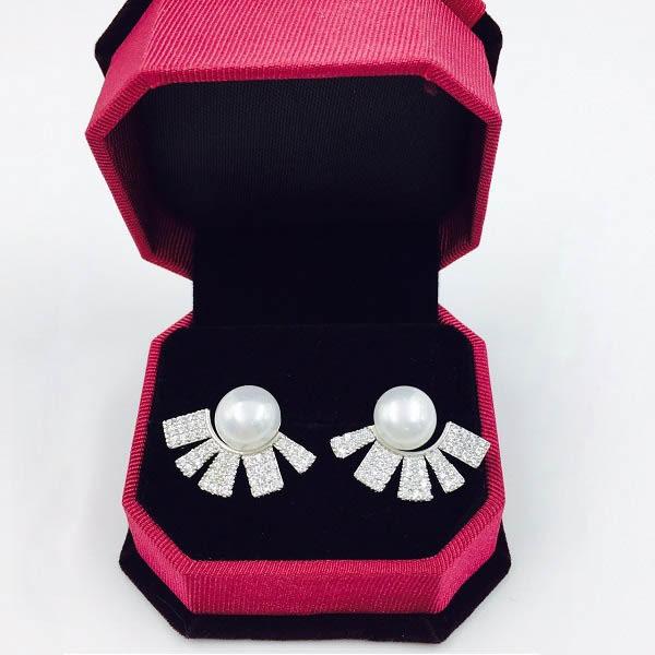 925銀針扇形珍珠鑲鋯石耳環  (0411)