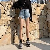 牛仔短褲女2021夏新款韓版chic寬鬆寬管高腰a字泫雅同款熱褲 【七七小鋪】