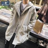 秋季中長版風衣外套夾克胖子大碼上衣連帽外套男裝【左岸男裝】