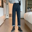 牛仔褲女寬鬆直筒深藍色2020新款春秋季高腰顯瘦百搭長褲子潮ins 【草莓妞妞】