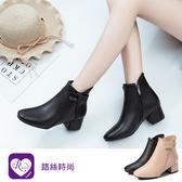 【快速出貨】韓系復古蝴蝶結拉鍊設計粗跟馬丁短靴/2色/35-43碼(RX1061-6-63) iRurus 路絲時尚