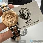 VERSUS VERSACE凡賽斯女錶34mm玫瑰金色錶面金銀相間錶帶