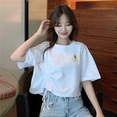 短款上衣 短款短袖t恤女寬鬆正韓設計感 抽繩高腰露臍上衣夏-Ballet朵朵