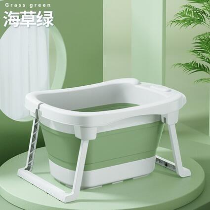 兒童洗澡盆 兒童泡澡桶兒童游泳桶洗澡沐浴桶小孩可坐趟家用大號折疊浴盆【快速出貨八折鉅惠】