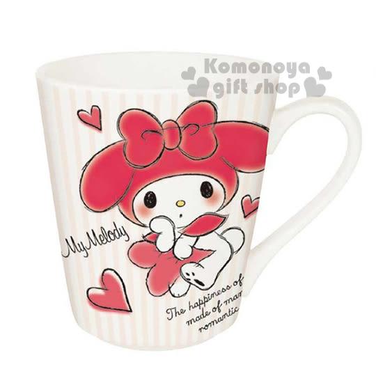 〔小禮堂〕美樂蒂 陶瓷馬克杯《白杯.粉蓋.愛心.條紋.300ml》附造型矽膠杯蓋 4991277-62289
