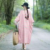 棉麻 寬鬆版配條洋裝-大尺碼 獨具衣格