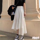紗裙 裙子夏學生不規則百褶裙中長款短裙韓版蛋糕裙韓版雪紡仙女半身裙