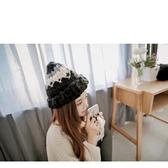 毛帽 撞色粗毛線編織捲邊針織帽【QI1900】 BOBI
