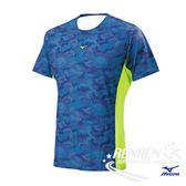 美津濃 MIZUNO 男短袖T恤 (深藍/螢光黃) 抗菌消臭、吸汗速乾 J2TA700216【 胖媛的店 】