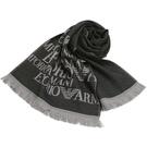 EMPORIO ARMANI 100%羔羊毛雙面雙色圍巾(黑/淺灰)084066